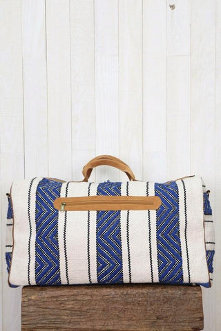 leather ikat duffel