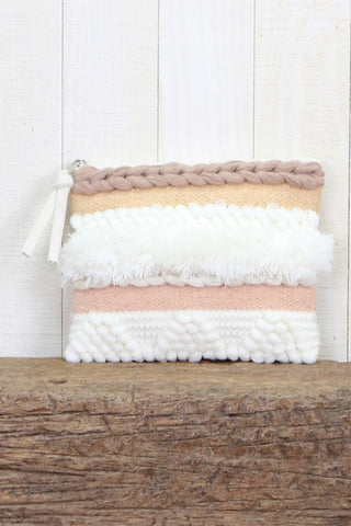 hand loomed yarn clutch