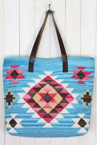 leather ikat tote