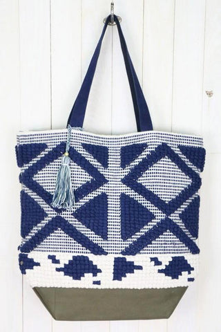 hand woven suede tote