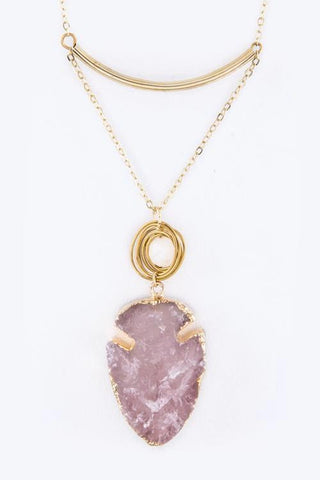 druzy arrowhead in pink