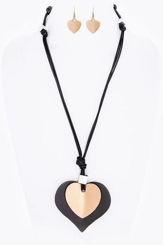 matted leather heart pendant