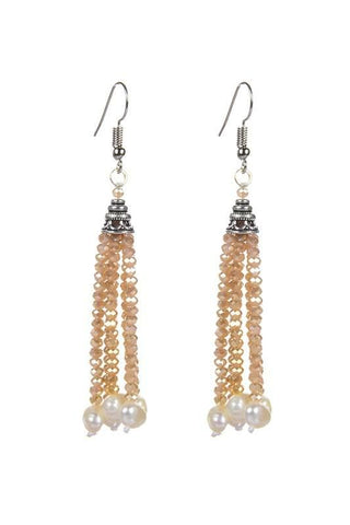 pearl & champagne crystal dangles