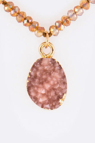 druzy encrusted drop in rose
