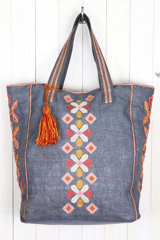hand embroidered denim tote