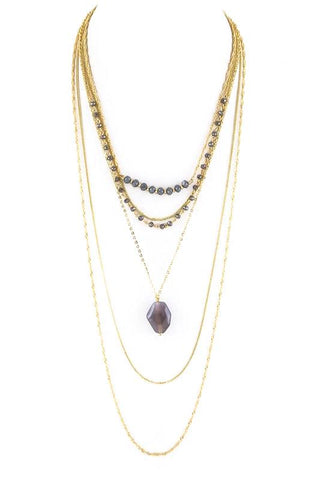 glass stone layered necklace