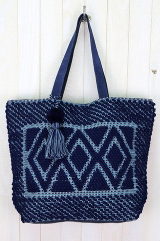hand loom leather tote
