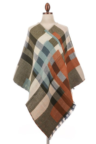 woven plaid poncho in olive