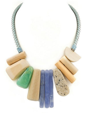 organic leather stone necklace