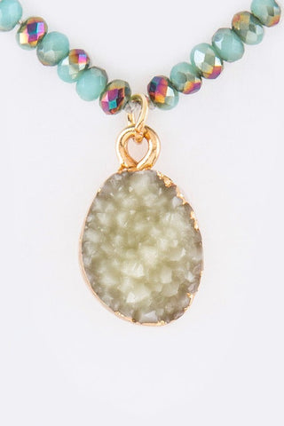 druzy encrusted drop in teal