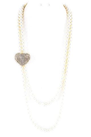 encrusted rhinestone heart in pearls
