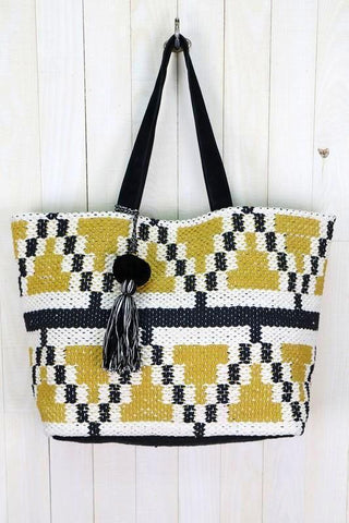 hand loomed suede tote