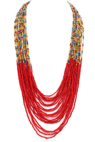 tropical seed bead in red