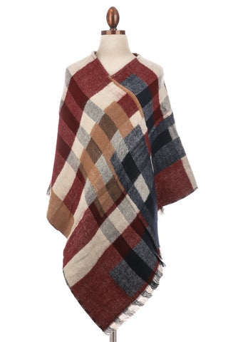 woven plaid poncho in burgundy