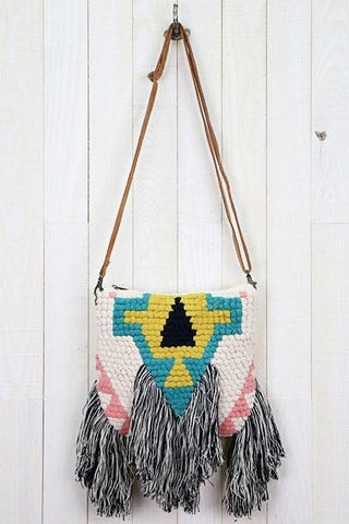 tribal fringe cross body bag
