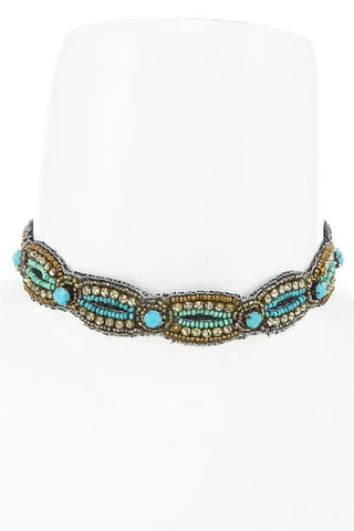 turquoise candied choker