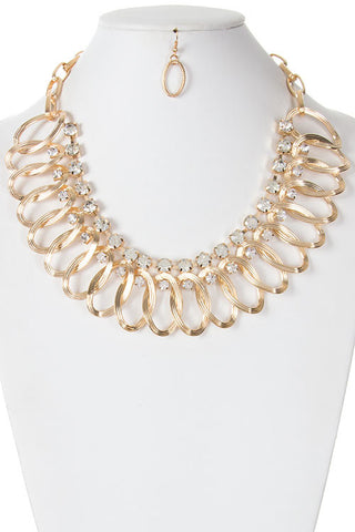 crystal ray statement necklace in gold