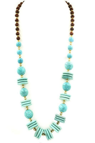 long turquoise rondelle set