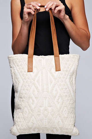 ivory aztec tapestry tote