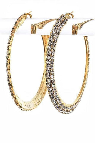 double crystal hoops in gold