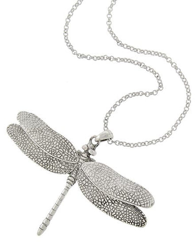 sculpted silver dragonfly pendant