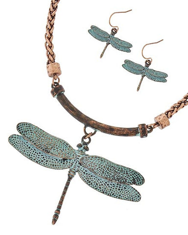 patina and burnished copper dragonfly
