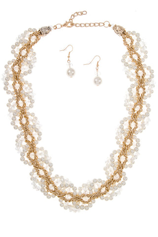 ladylike hand beaded pearl set