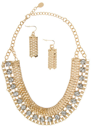 pave crystal link set