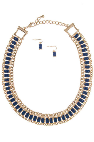 plated aruba necklace set in blue