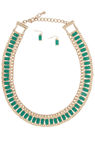 plated aruba necklace set in green