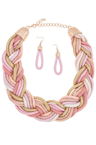 leather woven bib in pink