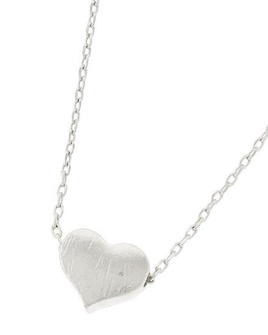 dainty silver brushed heart