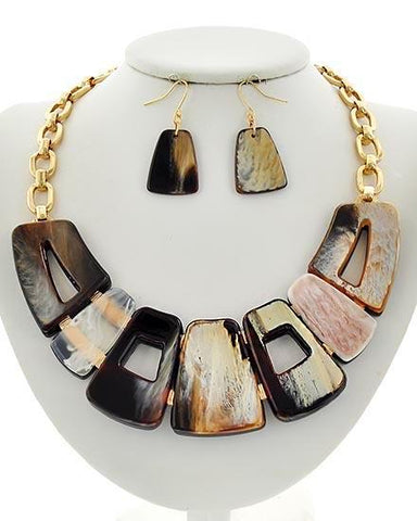marbled gold chain link set