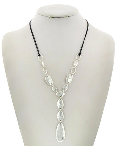 simple silver droplet necklace