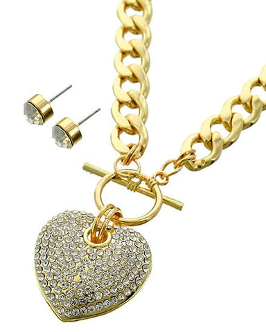 sparkle heart toggle in gold