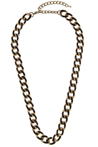 enamel linked chain in black