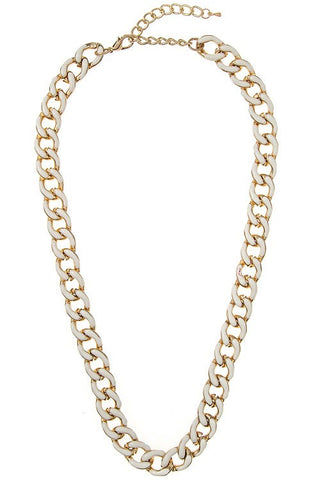 enamel linked chain in white
