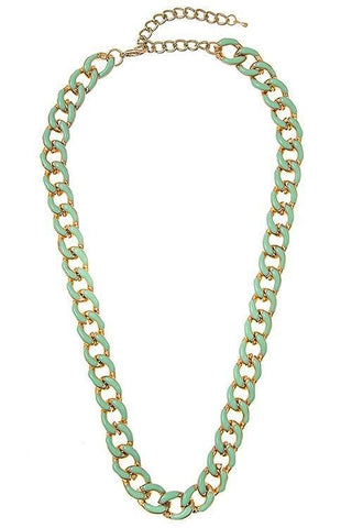 enamel linked chain in mint