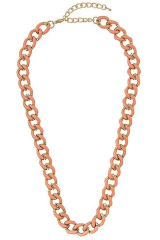 enamel linked chain in peach