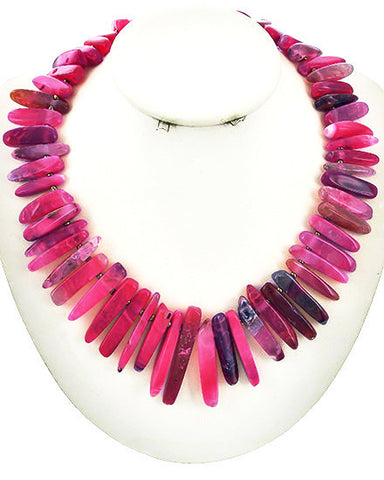 fuchsia agate & violet necklace