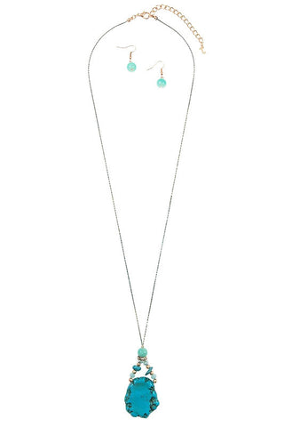 natural in turquoise long pendant