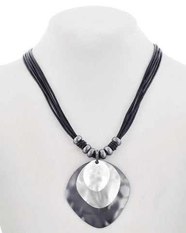matte silver & leather necklace