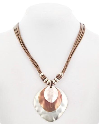 matte rose gold & leather necklace