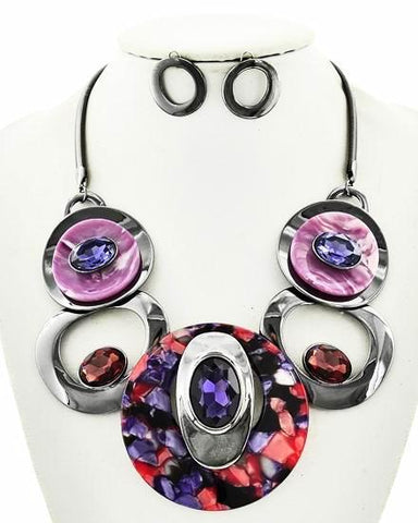 marbled resin & glass necklace