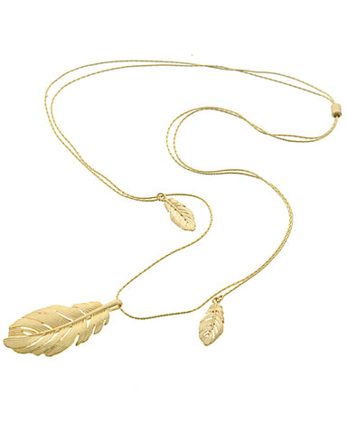 liquide sculpt feather necklace