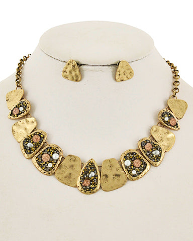 golden druzy and pearl collar