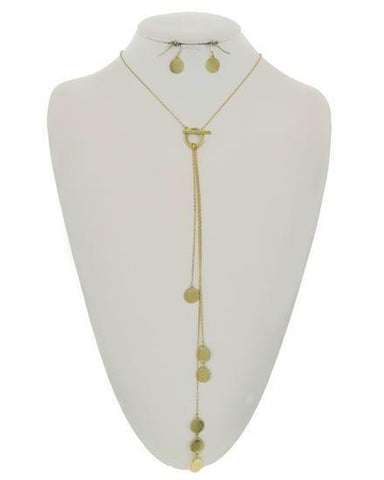 polished oval lariat in gold