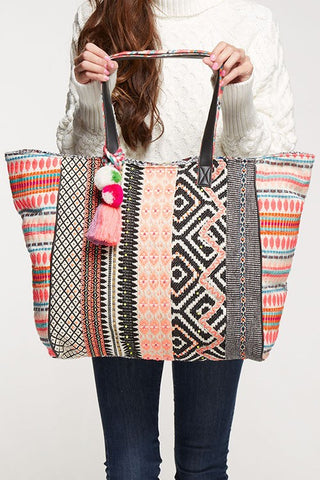multi trimmed oversized tote