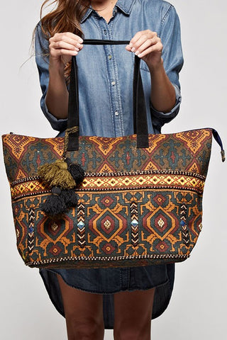 rich tapestry woven tote