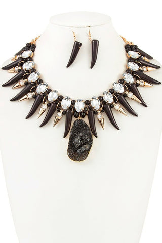 spiked druzy in black